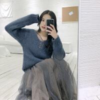 冬季新V领缕空长袖毛衣上衣女+长连衣裙子复古港味套装分开拍