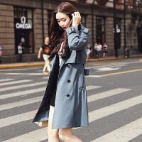 安妮纯风衣女中长款韩版秋季2018新款女士时尚chic外套修身收腰气质女装