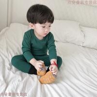 宝宝睡衣男童家居服儿童睡衣套装女童春秋纯色韩版家居服