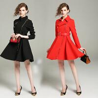 2015新款秋季女装韩版衬衫裙大摆修身显瘦高腰中长裙子长袖连衣裙