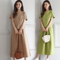 新款女装套装裙两件套夏季新款棉麻套装女中长款文艺复古连衣裙女