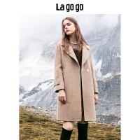 Lagogo拉谷谷2019冬新款原宿风休闲毛呢大衣外套女HCDD339H52