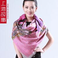 上海故事春秋女款羊毛印花撞色大方巾秋冬保暖围巾