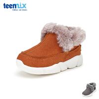 天美意teenmix童鞋18冬季新款婴幼童休闲鞋儿童时尚宝宝鞋绒毛保暖学步鞋(0-4岁可选) DX7051