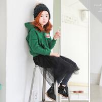 秋冬新款女童卫衣韩版童装中大童加绒加厚连帽上衣