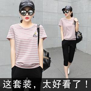 安妮纯2019新款韩版休闲运动套装女夏季时尚两件套短袖七分裤跑步衣服潮