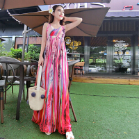 夏装新款时尚度假风性感露背波米希亚度假沙滩雪纺裙长裙