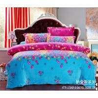 保暖珊瑚绒四件套加厚法兰绒床笠式法莱绒1.8m床上用品2m被套冬季 花色 花丛魅影