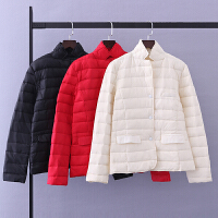 冬装轻薄常规 时尚韩版羽绒服女士 修身可收纳立领羽绒外套