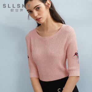 熙世界2018夏季新款五分短袖毛针织衫刺绣薄款条纹上衣女112SW002