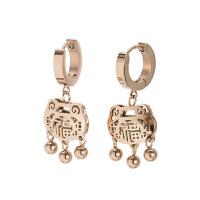 ?韩国气质简约罗马数字耳环耳饰女钛钢镀玫瑰金耳扣