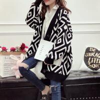 孕妇毛衣韩版时尚中长款形状格子针织衫上衣开衫外套怀孕期宽松潮