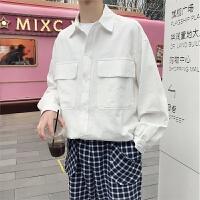 工装大口袋长袖衬衫男套潮