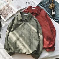 港风春季新款翻领纯色长袖衬衫男士韩版青少年宽松衬衣休闲寸衫潮