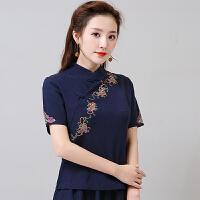民族风2018春装新款 中国风女装绣花盘扣立领棉麻短袖短款上衣 女