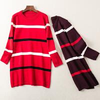 秋冬装新款圆领条纹装饰长袖打底连衣裙