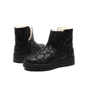 jm快乐玛丽冬季时尚平底蛇纹加绒女士高帮靴子套脚雪地靴女85012W