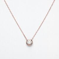 925银锆石单钻锁骨链玫瑰金18K彩金项链女 玫瑰金款40+5CM-可调长短 建议95斤以上选