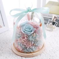520永生花礼盒玻璃罩情人节玫瑰花母节康乃馨保鲜生日礼物k520送女友礼品 .加