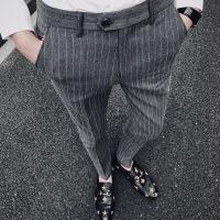 男士裤子韩版潮流条纹百搭商务休闲裤秋季青年英伦修身小脚西裤男