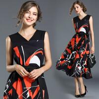 欧美秋装新款欧洲站女装无袖V领印花系带连衣裙蓬蓬长裙