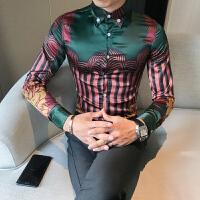 新款2018秋季韩版男士潮流碎花衬衫青年修身免烫花色长袖衬衣夜店