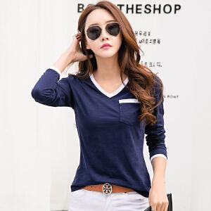 棉质V领打底衫女长袖修身显瘦春季韩版百搭新款t恤上衣体恤衫