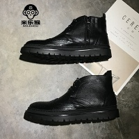 米乐猴 潮牌男士皮鞋2017新款高帮鞋马丁靴休闲皮鞋韩版雕花皮鞋英伦鞋男鞋