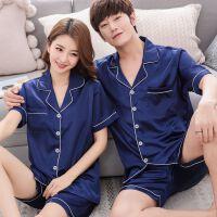韩版情侣睡衣女夏季短袖丝绸男士两件套装冰丝家居服夏天洋气薄款