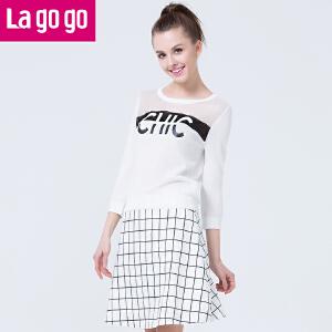 Lagogo圆领字母长袖修身针织衫女套头薄款印花打底衫毛衣夏秋上衣
