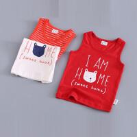 男女童红背心夏装婴儿童宝宝薄护肚上衣小孩黑白条纹圆领衣服