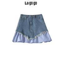 Lagogo2019秋季新款高腰短裙 条纹拼接牛仔a字半裙女HCBB157G59