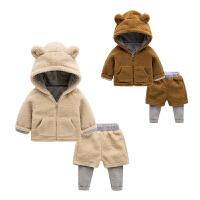 婴儿套装秋冬 女童毛绒外套新生儿0-3个月童装6 男宝宝两件套冬装