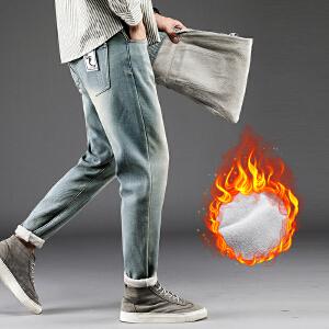 加绒牛仔裤男秋冬款黑色加厚宽松直筒韩版潮流男士修身小脚裤子男