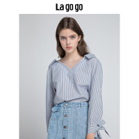 Lagogo拉谷谷2019秋季新款女装V领韩版上衣小清新条纹网纱衬衫