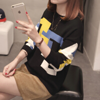 宽松毛衣女士外穿秋冬新款韩版套头低领短款拼色圆领百搭针织衫潮