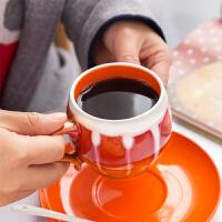 窑变流釉手绘咖啡杯碟套装陶瓷杯子个性复古咖啡杯