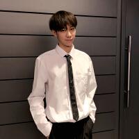 2018春装新款青年男士修身纯色长袖白色衬衣男打底休闲衬衣