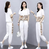 2021时尚套装女两件套夏装女装减龄洋气显瘦休闲束脚裤套装裤