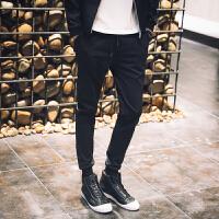 冬季男士休闲裤男纯色韩版长裤黑色运动裤男弹力小脚哈伦裤束脚裤
