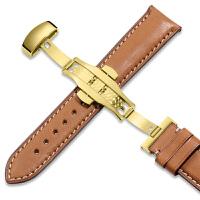 法国牛皮手表带男蝴蝶扣女配件天梭浪琴欧米茄DW美度表带