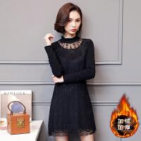 蕾丝连衣裙秋冬装新款韩版潮加绒加厚钉珠保暖时尚打底A字裙