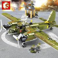 森宝儿童�犯呋�木军事战争系列德国二战车飞机坦克益智拼装玩具