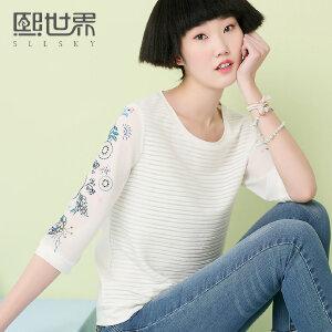 熙世界七分袖白色蕾丝衫女2018夏装新款韩版通勤圆领上衣106LS258