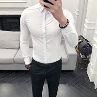 白衬衫男小码S码韩版修身长袖衬衣青年纯色贴身寸衫潮流帅气衬衣
