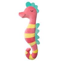 维莱 海马创意抱枕靠垫毛绒玩具大号可爱公仔送女友儿童节礼物 红黄条纹 80cm
