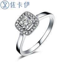 佐卡伊白18k金共41分公主方钻石结婚戒指 正品珠宝