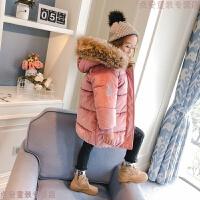 女童棉衣2018新款冬装大毛领加厚棉袄中长款外套冬季儿童羽绒 黑色