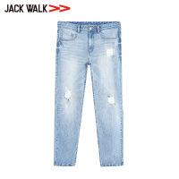 【35折价129.15元】JACKWALK 青年破洞水洗修身牛仔裤 男士素色休闲长裤