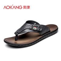 奥康男士 夏季休闲人字拖 夹脚沙滩皮凉拖鞋